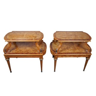 French Empire Henredon Olive Ashwood Burled Side Tables - a Pair For Sale