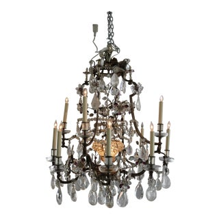 Maison Bagues, 12-Light, Rock Crystal & Amethyst Chandelier For Sale