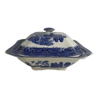 Antique Blue Willow Square Vegetable Dish With Lid For Sale