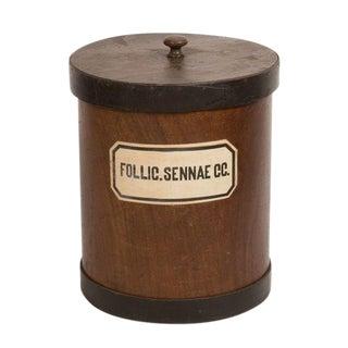 Vintage Wooden Herb Canister For Sale