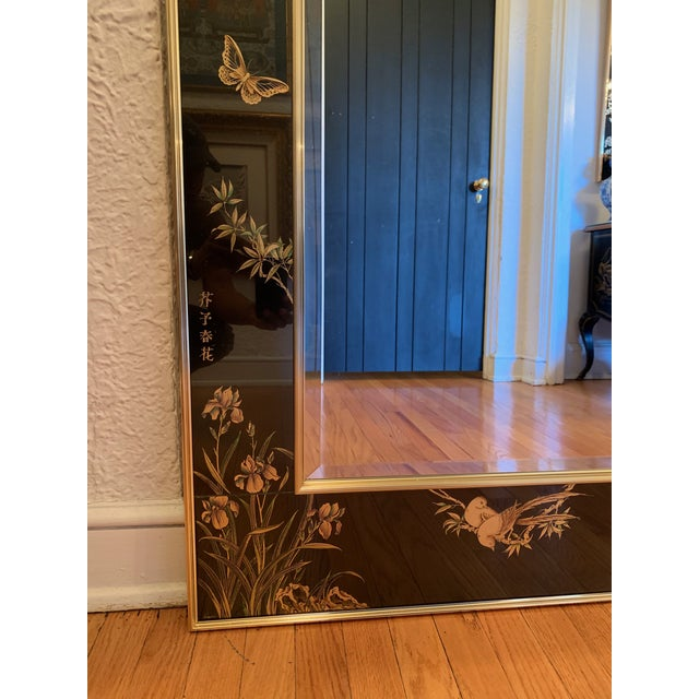 LaBarge Chinoiserie Style Eglomise Black Mirror For Sale In Chicago - Image 6 of 10