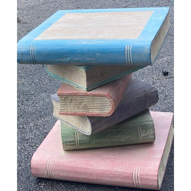 Contemporary Vintage Hand Carved Stack of Books Side Table For Sale - Image 3 of 4