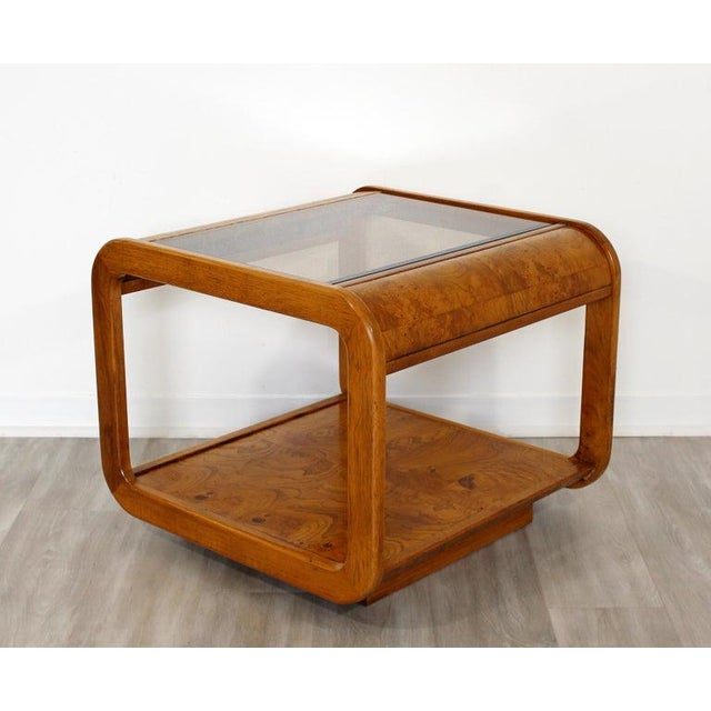Mid Century Modern Pair Burlwood Coffee & Side End Table 1970s For Sale - Image 9 of 13
