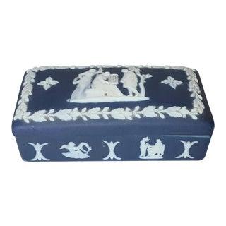 Mid Century Wedgwood Dark Blue Jasperware Rectangular Match Box For Sale