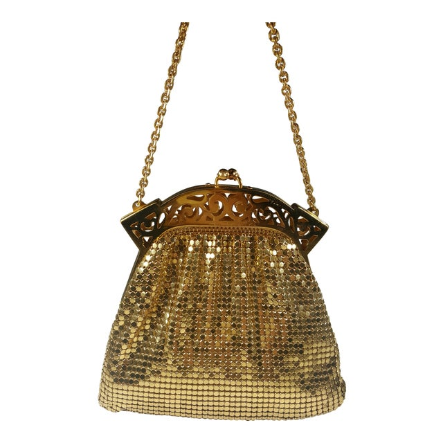 Vintage Whiting and Davis Gold Mesh Evening Bag For Sale