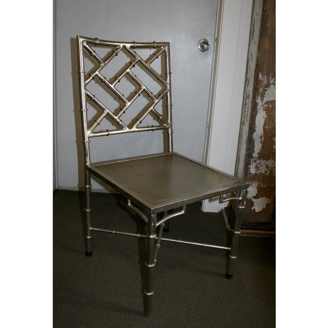 Nickel Bamboo Side Chair - Image 2 of 7