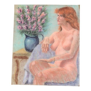 Vintage Original Pastel Female Nude Life Study Drawing For Sale