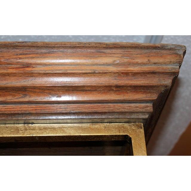 Metal Vintage Midcentury Custom Oak Gilt Steel Metal Shelf Etagere Display Case For Sale - Image 7 of 11