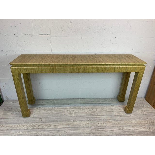 1970's Karl Springer Style Grass-Wrapped Lacquered Console Table For Sale - Image 9 of 10