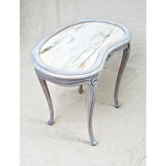 Marble French Kidney Shape Marble Top Table For Sale - Image 7 of 12