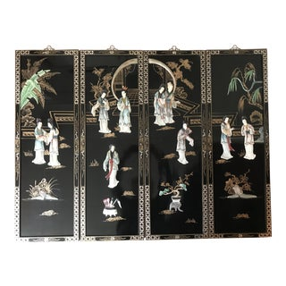 Vintage Asian Black Lacquer Wall Hangings With Hand-Carved Stone Figures - Set of 4 For Sale