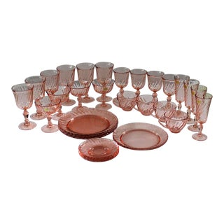 1960s Vintage Cristal D'Arques-Durand Rosaline Pink Dish Collection - Set of 33 For Sale