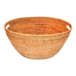 Large Wicker Rattan Woven Oval Basket For Sale