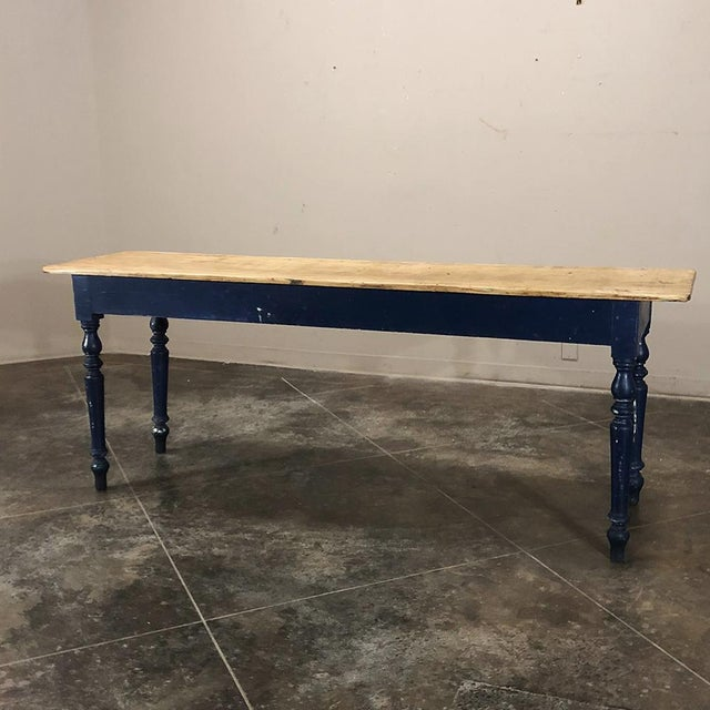 Blue Antique 19th Century Painted Sofa Farm Table With Stripped Top For Sale - Image 8 of 13