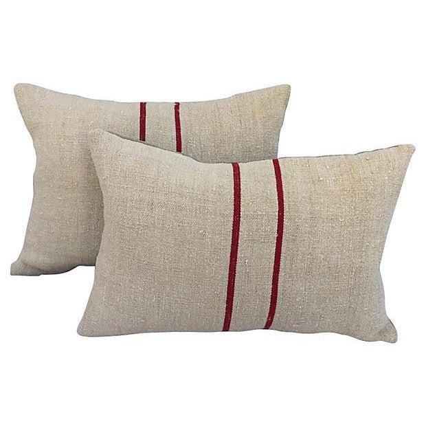 English Grain Sack Pillows - Pair - Image 1 of 4