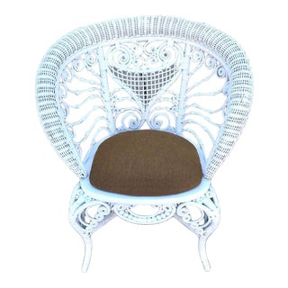 Antique Victorian Wicker Stick and Ball Chair For Sale