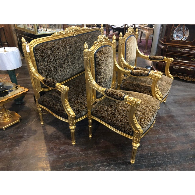 French Louis Gold Gilt Chairs - a Pair For Sale - Image 9 of 10