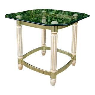 1980s Art Deco Style Brass & Glass Side Table For Sale