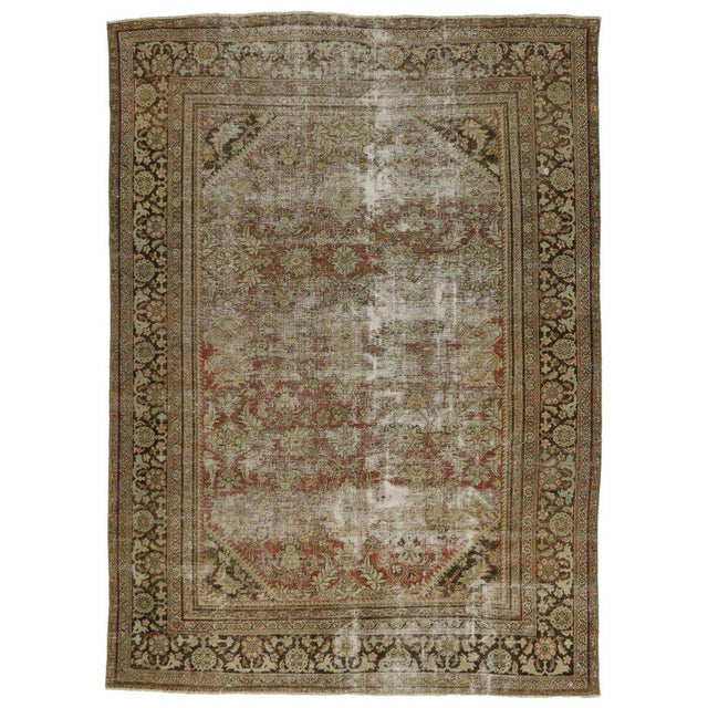 Distressed Antique Persian Mahal Rug with Modern Industrial Style For Sale In Dallas - Image 6 of 8