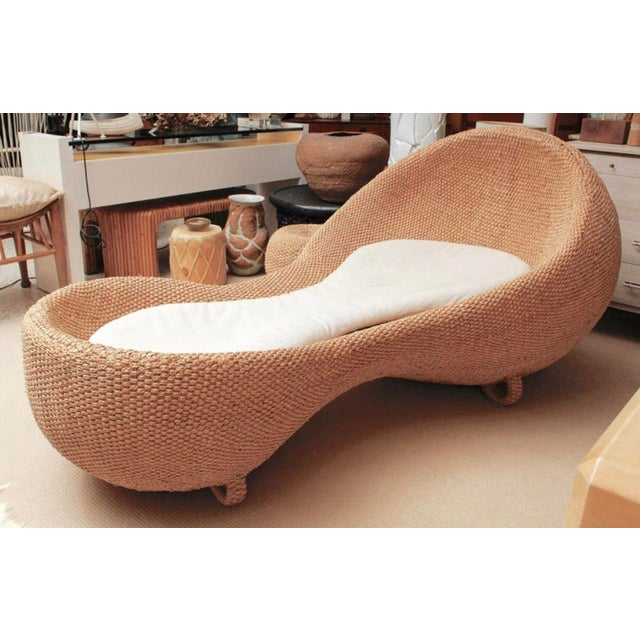 Contemporary Modernist Woven Wicker and Rope Chaise Lounge For Sale - Image 3 of 12
