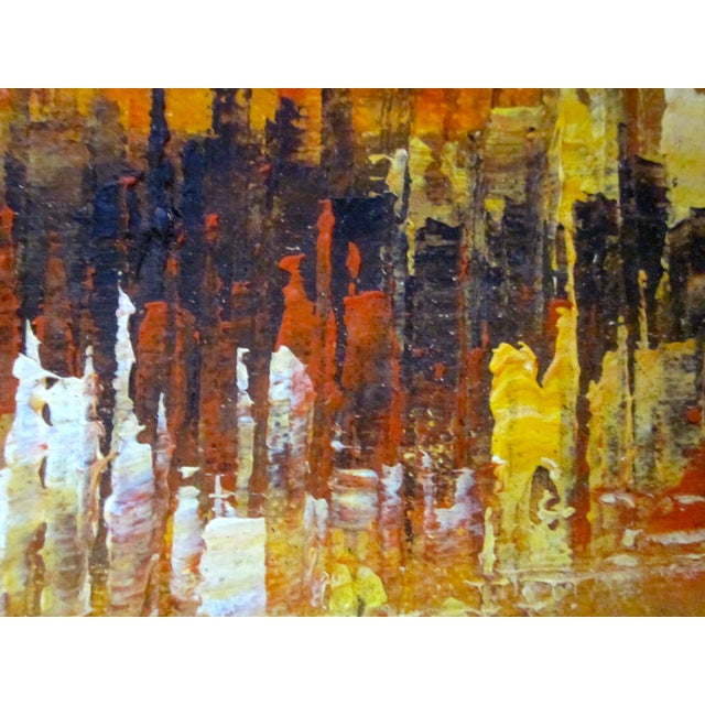 Mid Century Abstract Cityscape Painting - Image 4 of 10