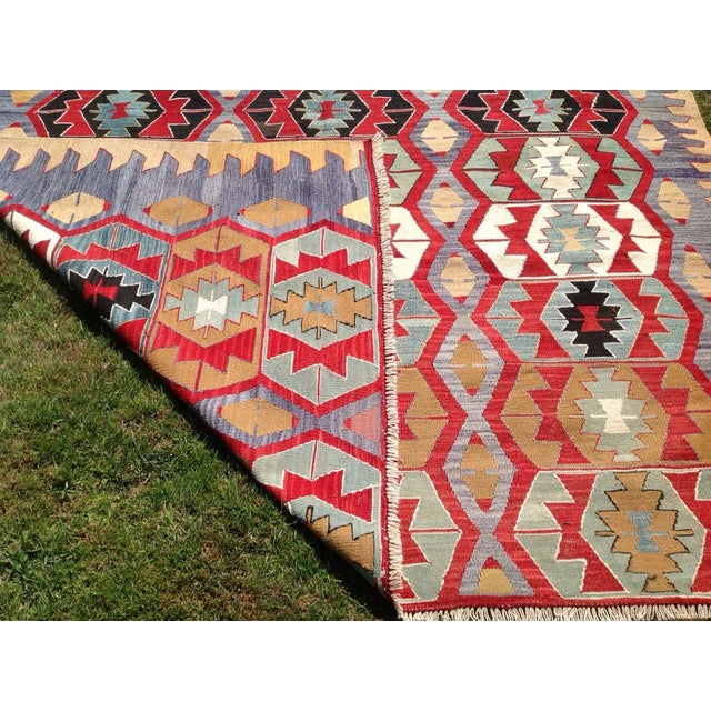 "Vintage Turkish Kilim Rug - 6'9"" x 9'3"" - Image 7 of 7"