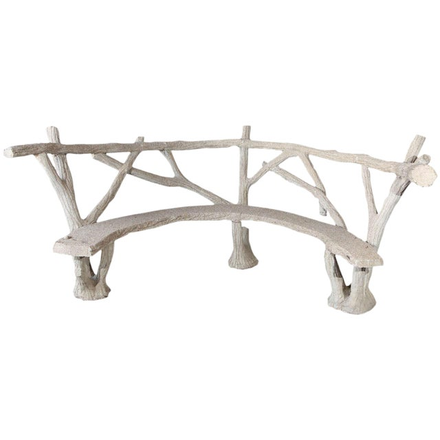 Faux Bois Curved Bench For Sale