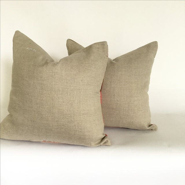 Vintage Flatweave Moroccan Pillows - A Pair - Image 3 of 4