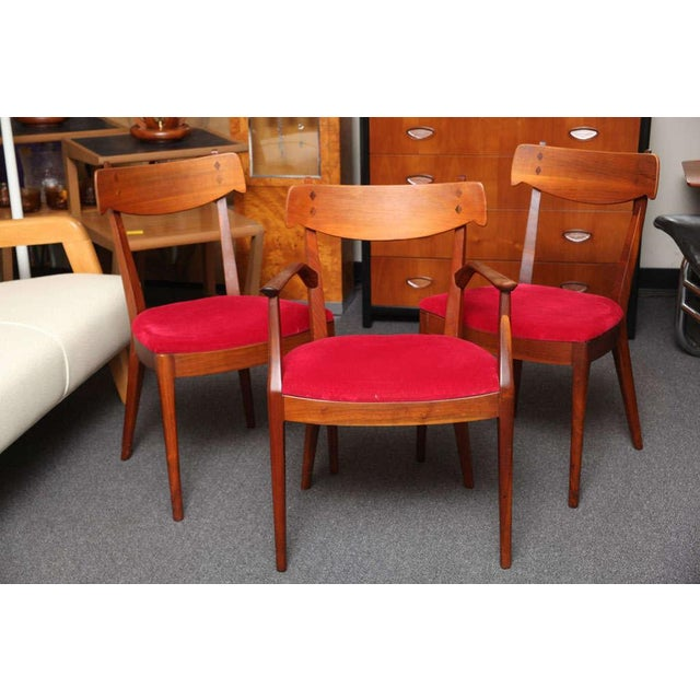 "Mid-Century Modern Set of 6 Mid-Century Modern Drexel ""Declaration"" Line Walnut Dining Chairs 1950s For Sale - Image 3 of 12"