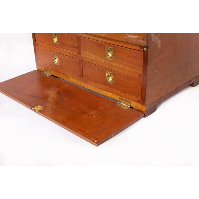 Brown Antique 19th C. Wooden Military Field Desk For Sale - Image 8 of 11