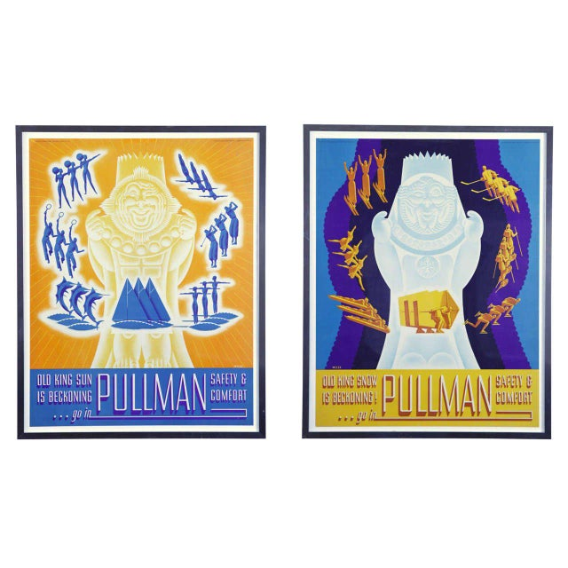 Pair of 1936 Original Art Deco Pullman Seasonal Travel Posters by William Welsh For Sale - Image 11 of 11