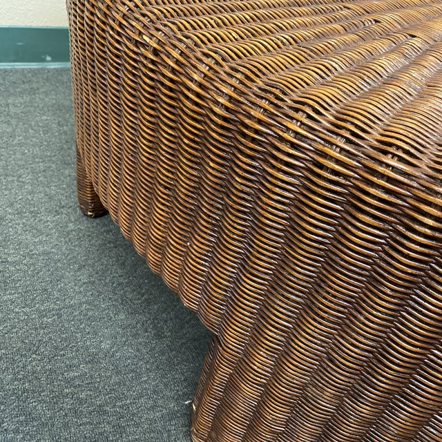 Hickory Chair Company Wicker Coffee Table For Sale In San Francisco - Image 6 of 8