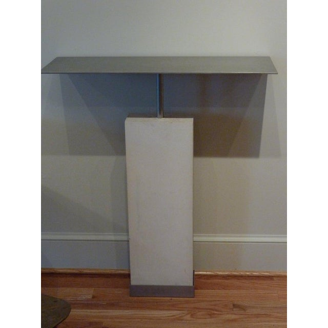 Metal Mid-Century Style Limestone and Steel Console Table For Sale - Image 7 of 8