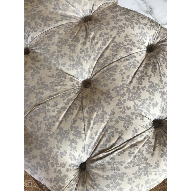 Textile 1990s Vintage Tufted Clover Fringe Ottoman For Sale - Image 7 of 11