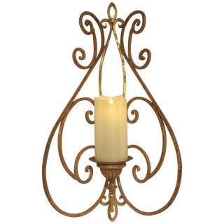 Antique Metal Gold Leaf Candle Sconce