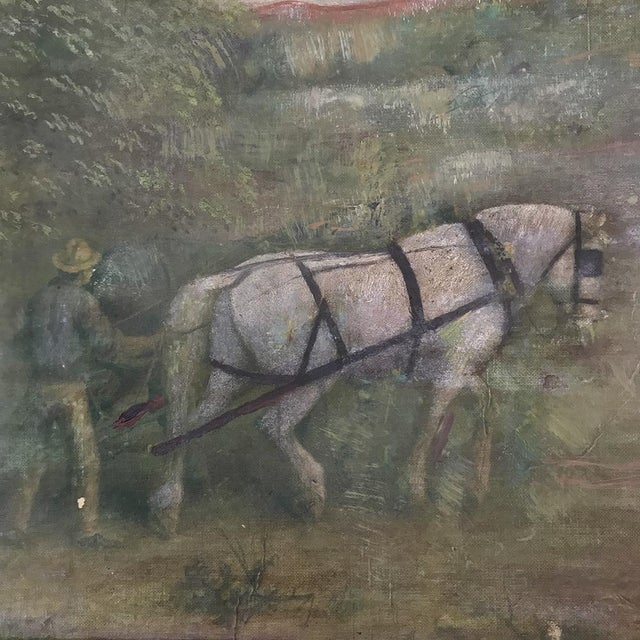 Canvas 19th Century Framed Oil Painting on Canvas For Sale - Image 7 of 13