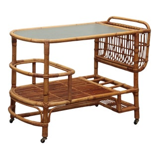Circa 1970 Midcentury Rattan / Cane Drinks Trolley For Sale