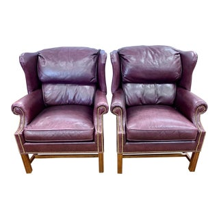 Burgundy Leather Wingback Chairs With Nailhead Trim For Sale