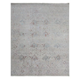 Harwich Hand-Knotted Bamboo SilkLight Blue Rug - 10'x14' For Sale