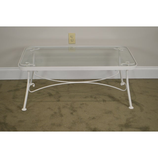 *STORE ITEM #: 18812 Woodard for Crown LeisureWhite Wrought Iron Glass Top Patio Coffee Table AGE / ORIGIN: Approx. 30...
