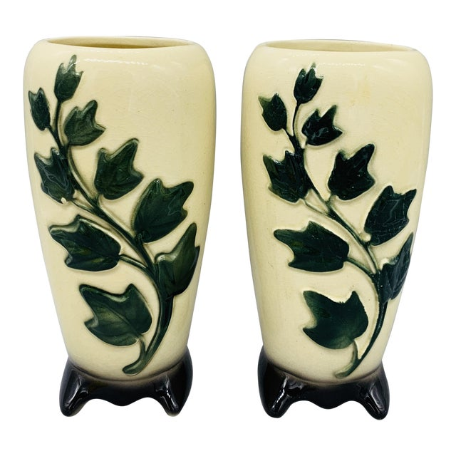 1950's Vintage Royal Copley Ivy Vases - a Pair For Sale