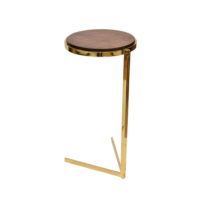Personal Brass with Wooden Top Side Table - Image 4 of 9