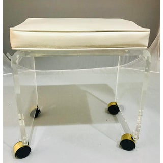 1970s Vintage Lucite Vanity Stool Bench Preview