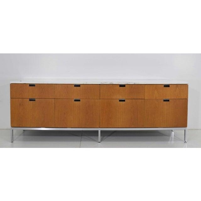 Florence Knoll Credenza in White Oak and Calacutta Marble For Sale - Image 10 of 10