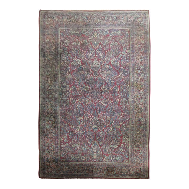 """Antique Red & Blue Persian Sarouk Rug - 10'4"""" x 20'6"""" For Sale"""