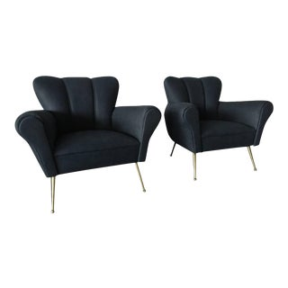 Pair of Italian Armchairs in Petroleum Blue Calfskin Leather For Sale