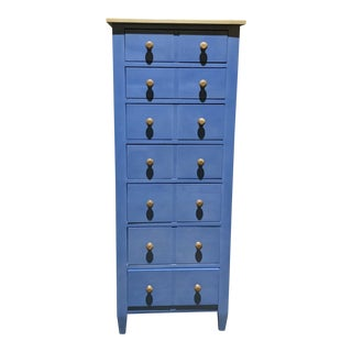 Rustic Ethan Allen Blue Seven Drawer Chest of Drawers. For Sale