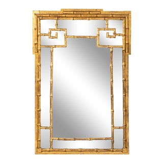Mid 20th Century Gilt Bamboo Mirror For Sale