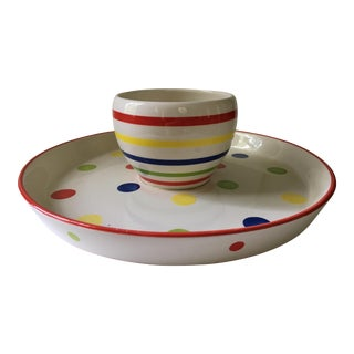 1970s Primary Colored Dots and Stripes Chip and Dip Platter & Bowl