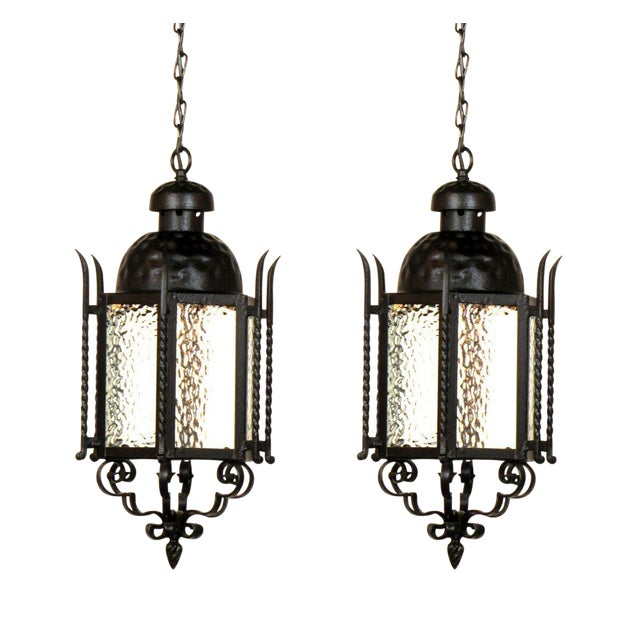 Pair of Iron Exterior Lanterns For Sale In Boston - Image 6 of 6